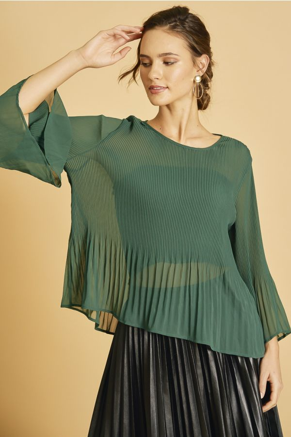 CHIFFON PLEATE LONG SLEEVE TOP  (325978)