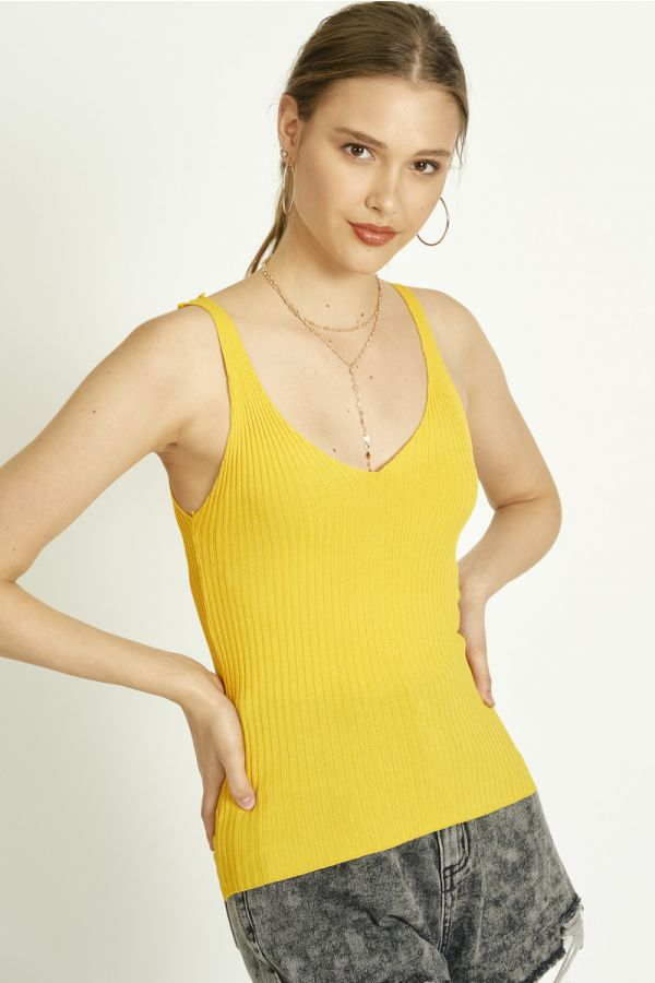 RIBBED V NECK TOP (326039)