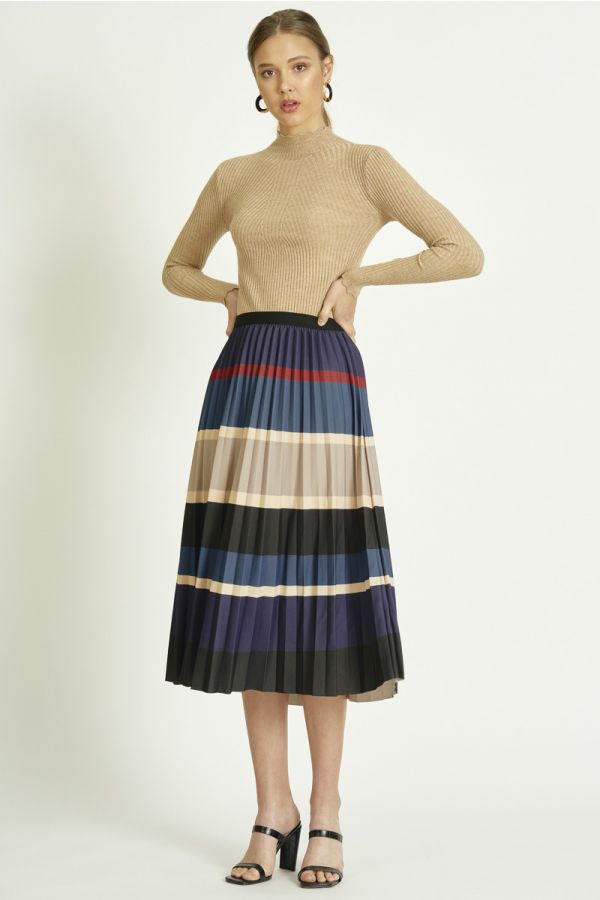 STRIPE PLEATS SKIRT (326086)