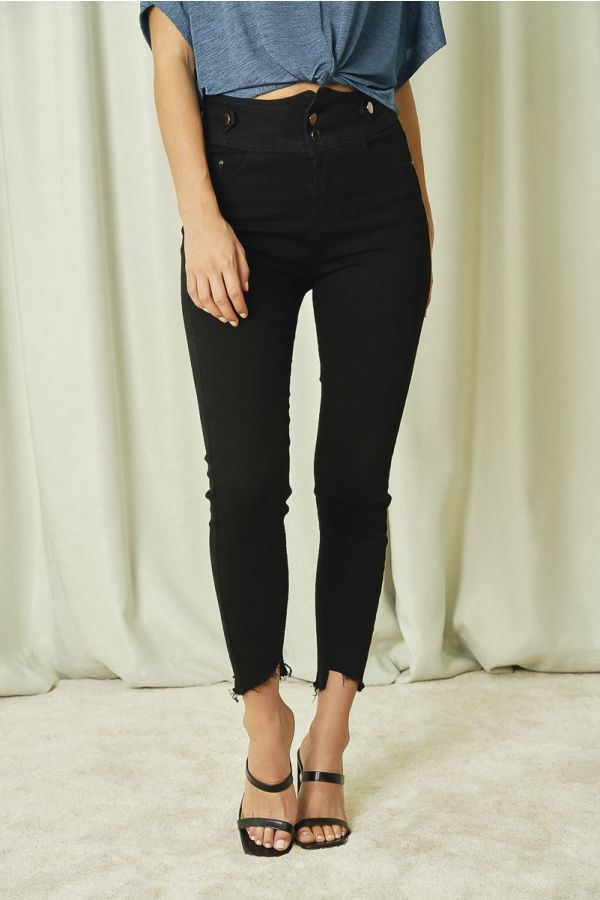 BUTTON DETAIL BLACK JEAN (326089)
