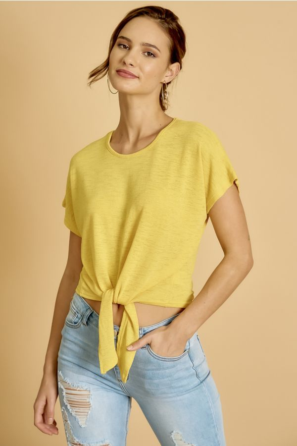 TIE FRONT SHORT SLEEVE TOP  (326103)