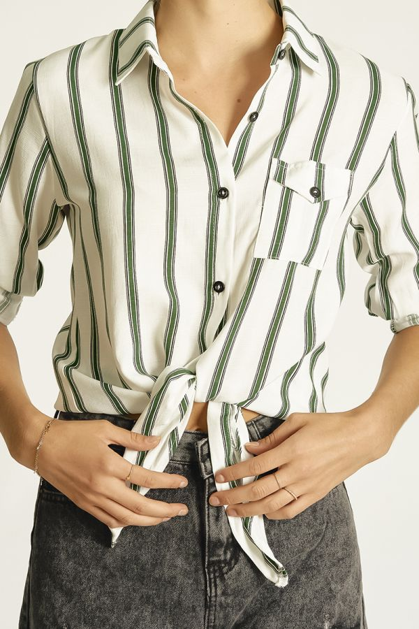 TIE UP SHIRT WITH ROLL UP CUFF (326106)
