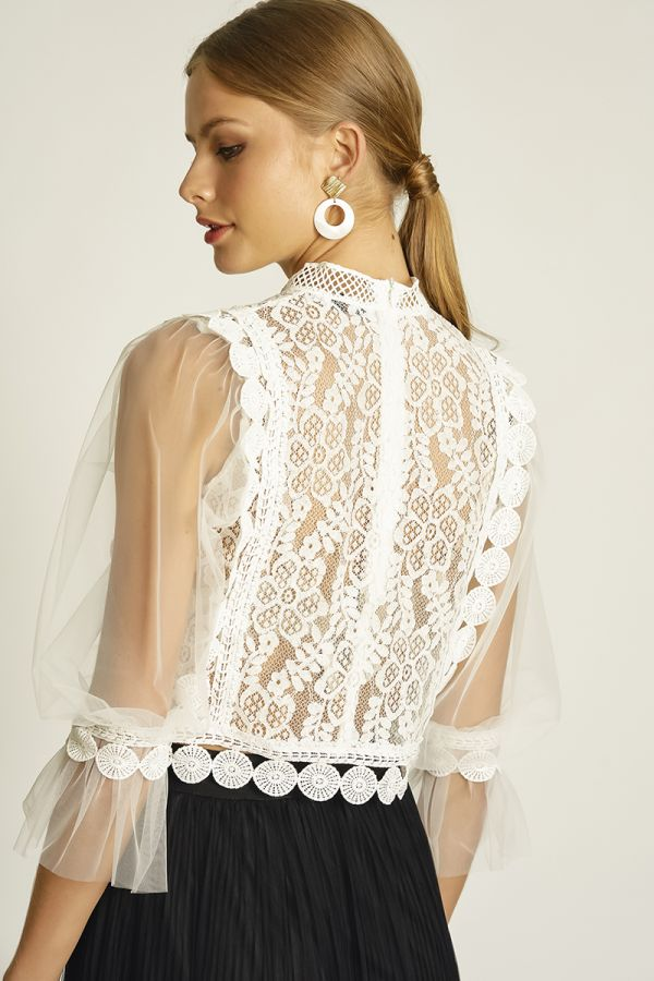 MESH SLEEVE LACE TOP (326126)