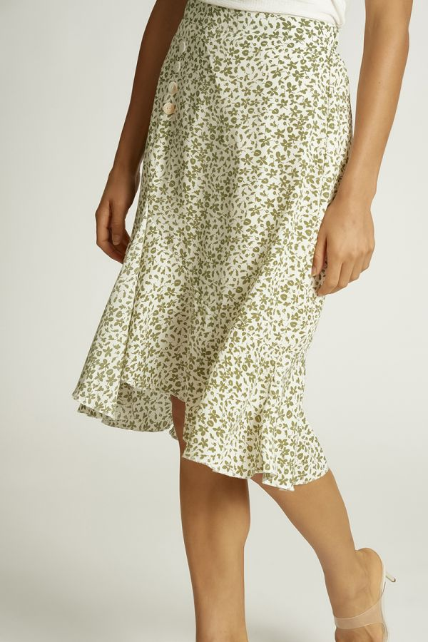 BUTTON DETAIL MIDI SKIRT (326146)