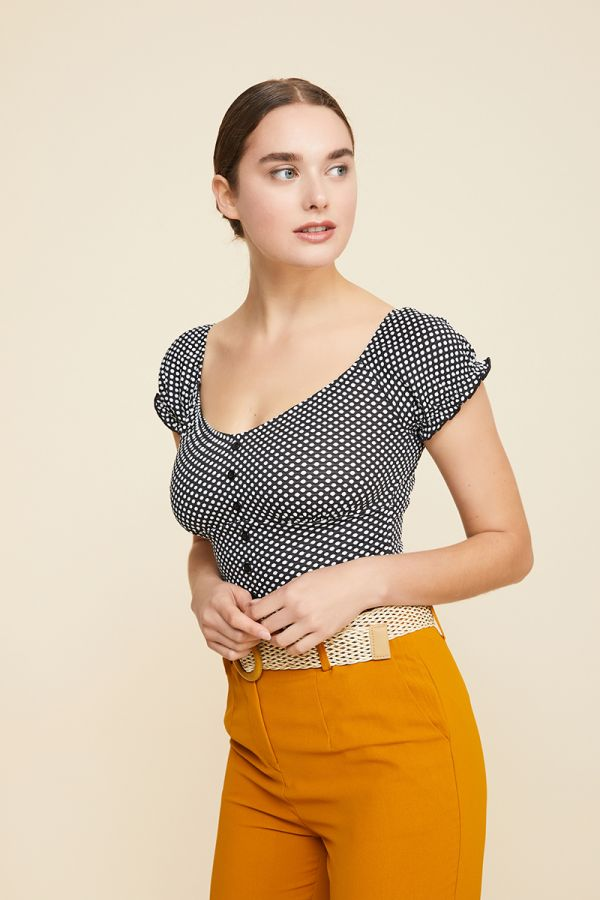 NADIA BUTTON DETAIL TOP
