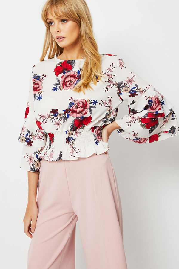 CELLA DOUBLE LAYERED SLEEVES TOP