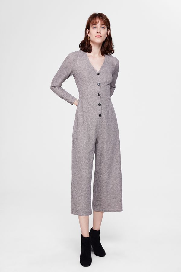 BUTTOMED LONG SLEEVE JUMPSUIT