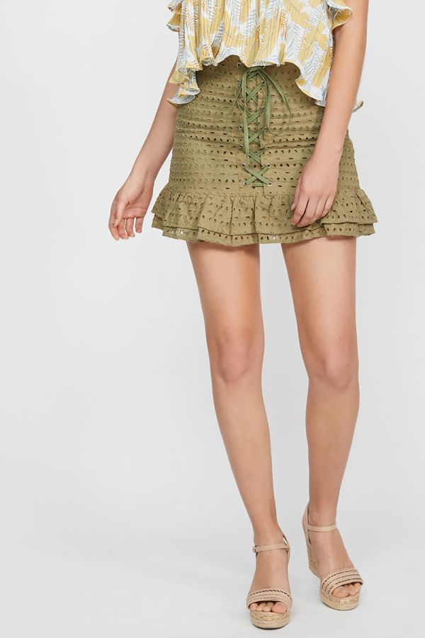 LARA LACE UP MINI SKIRT
