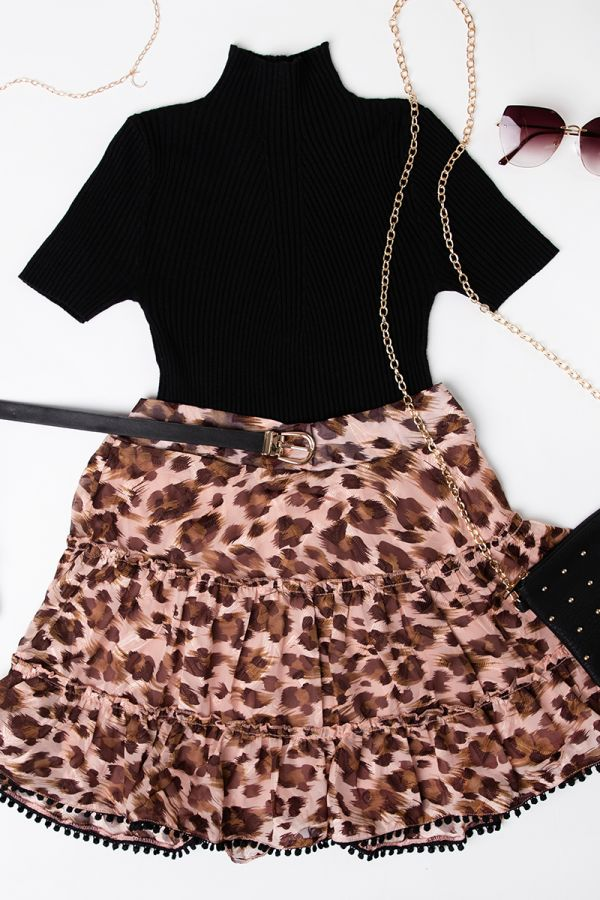 LEOPARD PRINT TIERED MINI SKIRT (325050)