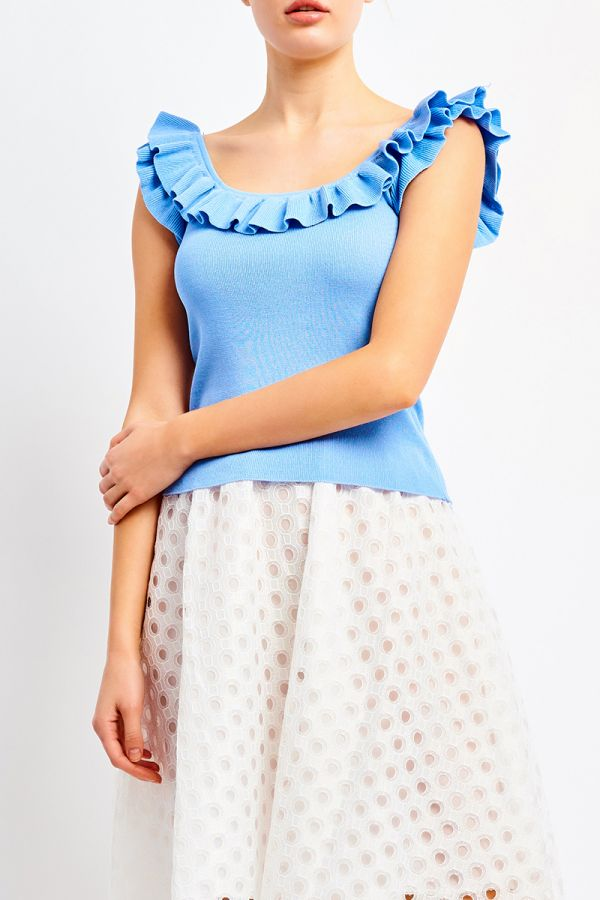 SHAE FRILL KNIT TOP (322592)