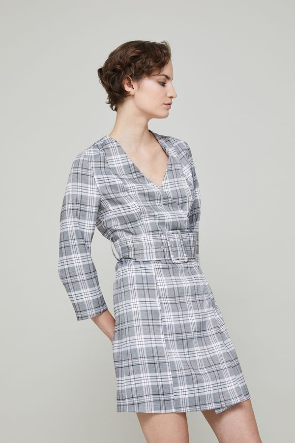 ELIZA CHECK WRAP DRESS