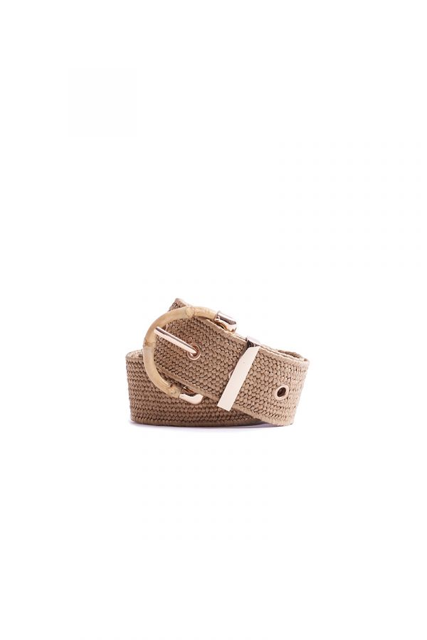 STRAW WOOVEN BAMBOO BUCKLE