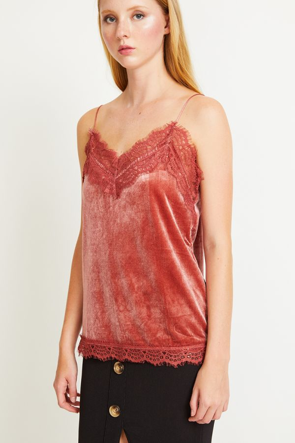 EMERSON LACE TRIM VELVET CAMI
