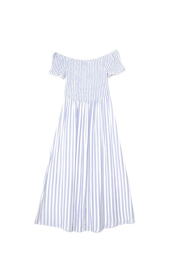 DORA OFF SHOULDER SHIRRED MAXI DRESS