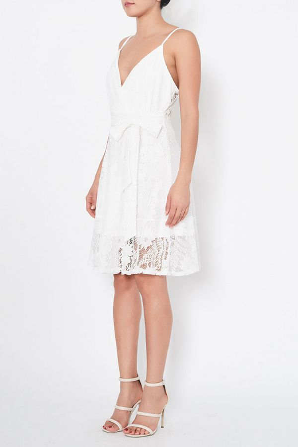 GINA TIE WAIST LACE DRESS