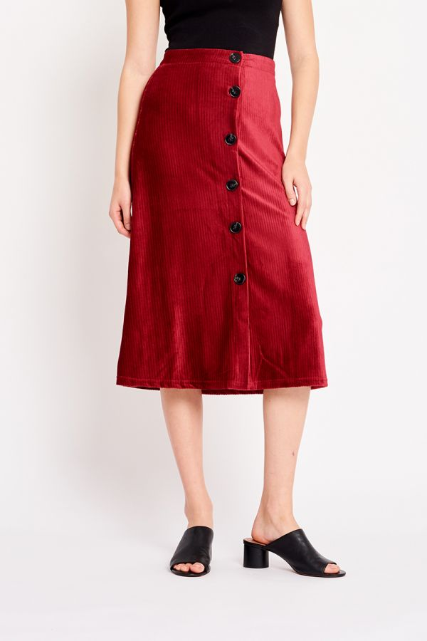 NIRO BUTTON VELVET SKIRT
